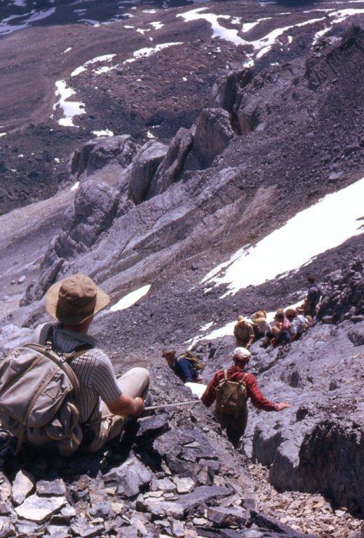 04 - Larch Valley 1962 - Bert Brink belaying children on peak of Mt_ Eiffel