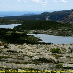From Faraway view of Middle and Swim lake with Dining tent below © Gail Newell